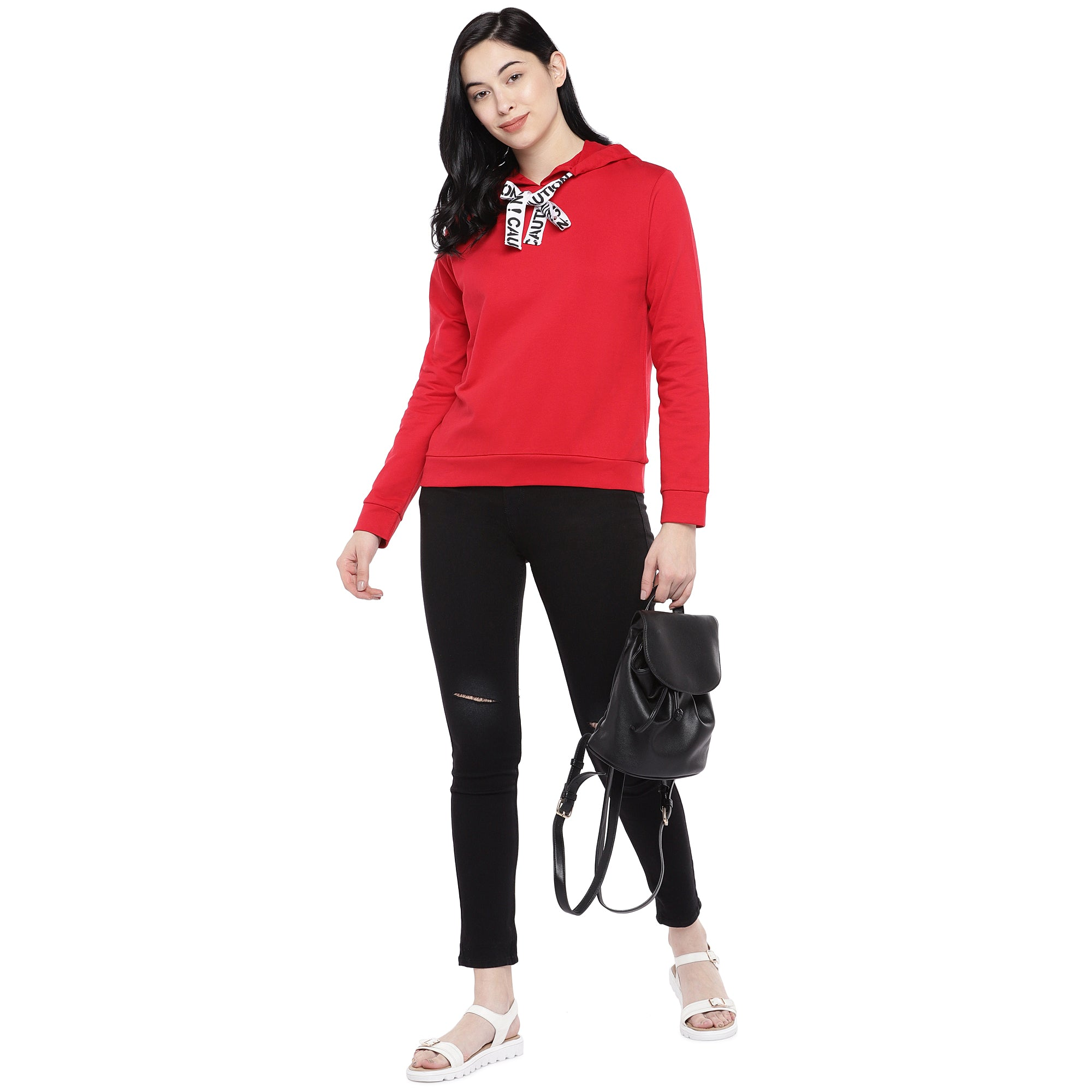 Red Solid Sweatshirt-4
