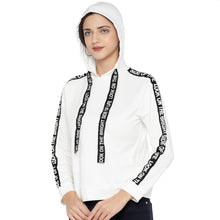 Load image into Gallery viewer, White & Black Striped Hooded Sweatshirt-2