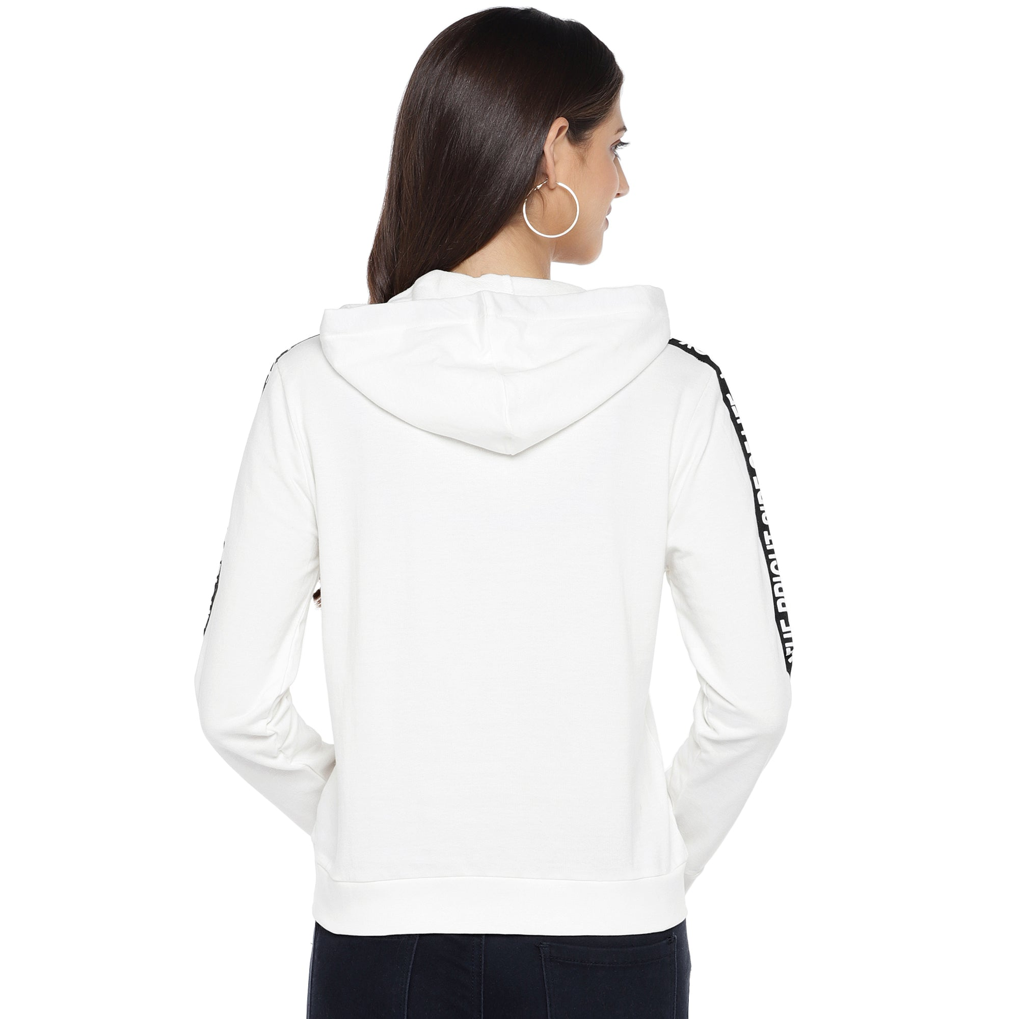 White & Black Striped Hooded Sweatshirt-3
