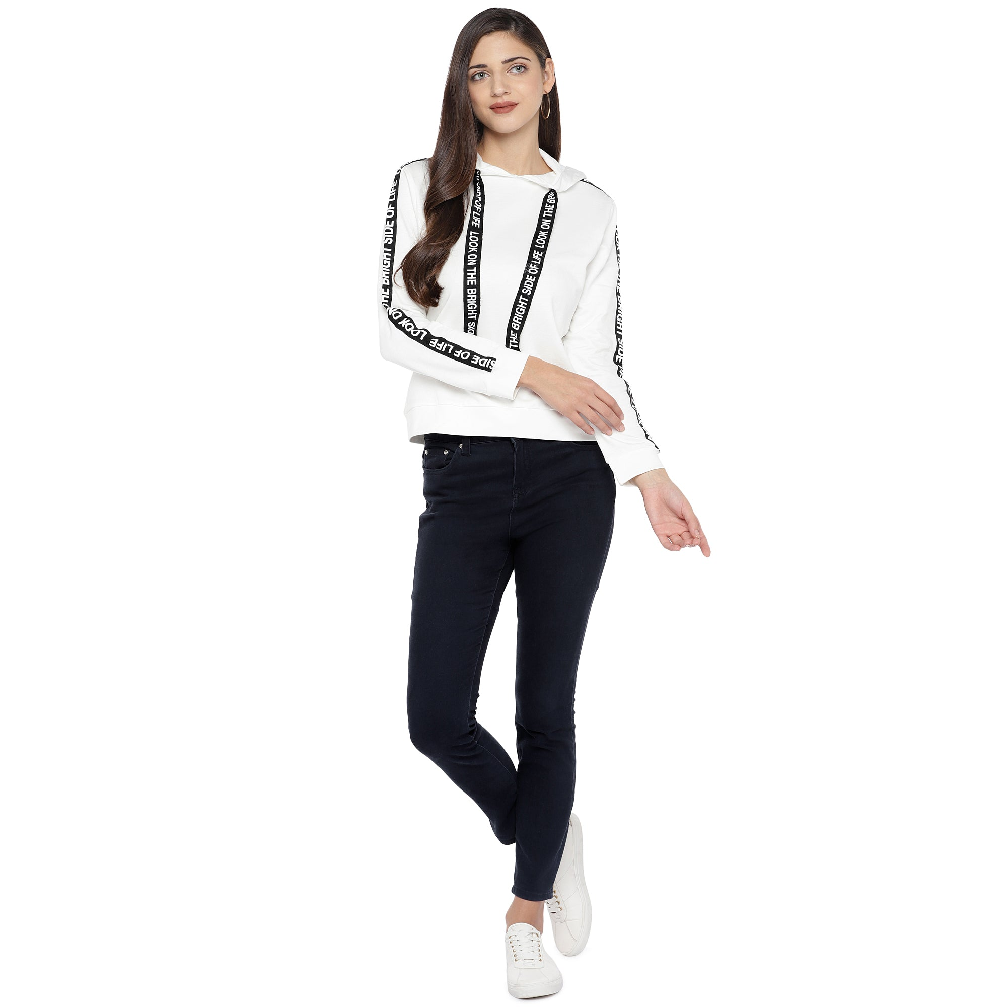White & Black Striped Hooded Sweatshirt-4