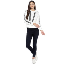 Load image into Gallery viewer, White & Black Striped Hooded Sweatshirt-4