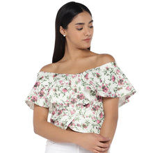 Load image into Gallery viewer, White Printed Bardot Top-1