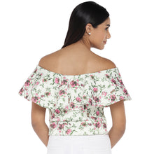 Load image into Gallery viewer, White Printed Bardot Top-3