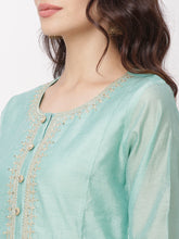 Load image into Gallery viewer, Globus Turquoise Blue Embroidered Kurta-4
