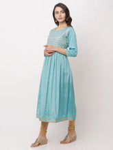 Load image into Gallery viewer, Globus Blue Embellished Casual Kurta-2