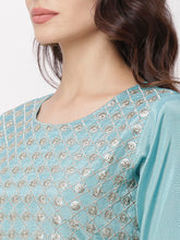 Load image into Gallery viewer, Globus Blue Embellished Casual Kurta-4