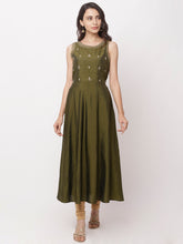 Load image into Gallery viewer, Globus Olive Embellished Casual Kurta-1