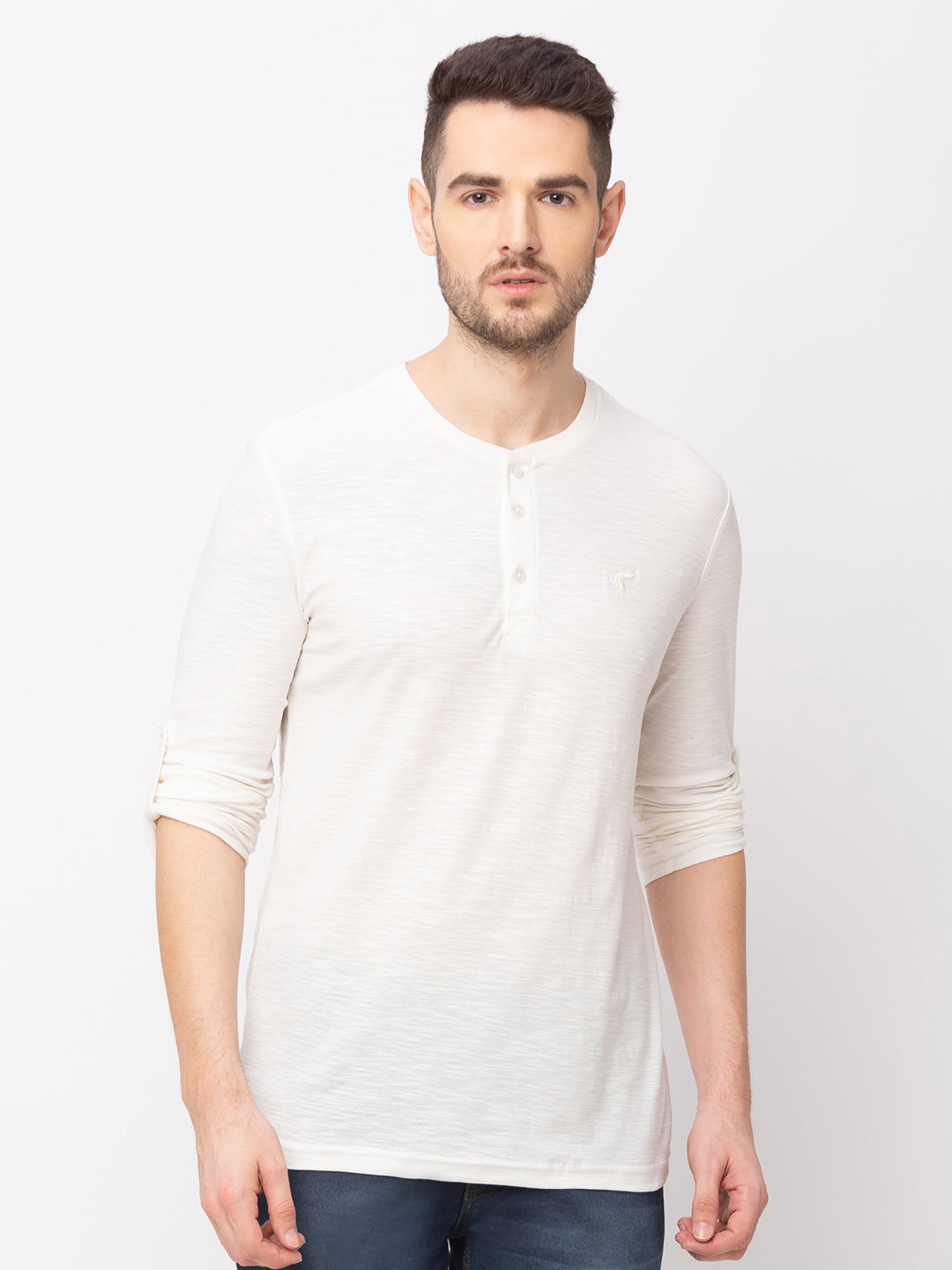 Globus Off white Solid T-Shirt-1
