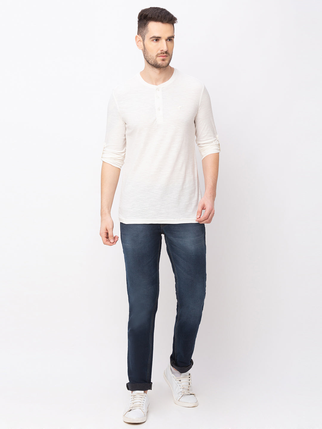Globus Off white Solid T-Shirt-5