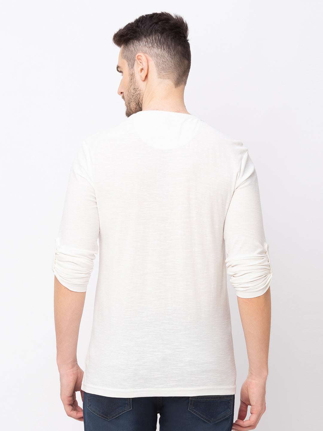 Globus Off white Solid T-Shirt-3