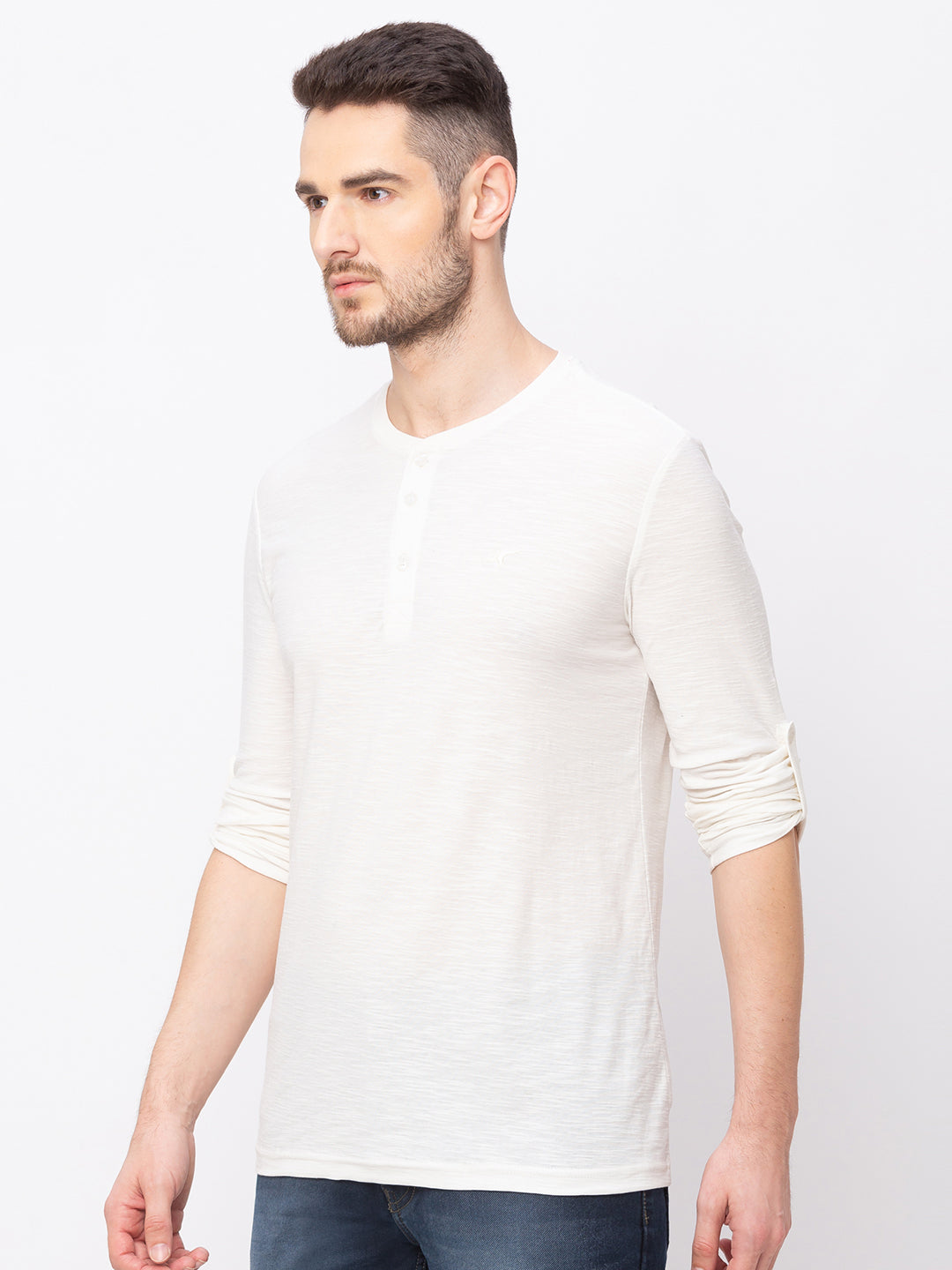 Globus Off white Solid T-Shirt-2