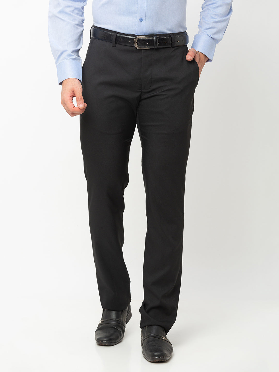 Globus Black Solid Trousers-1
