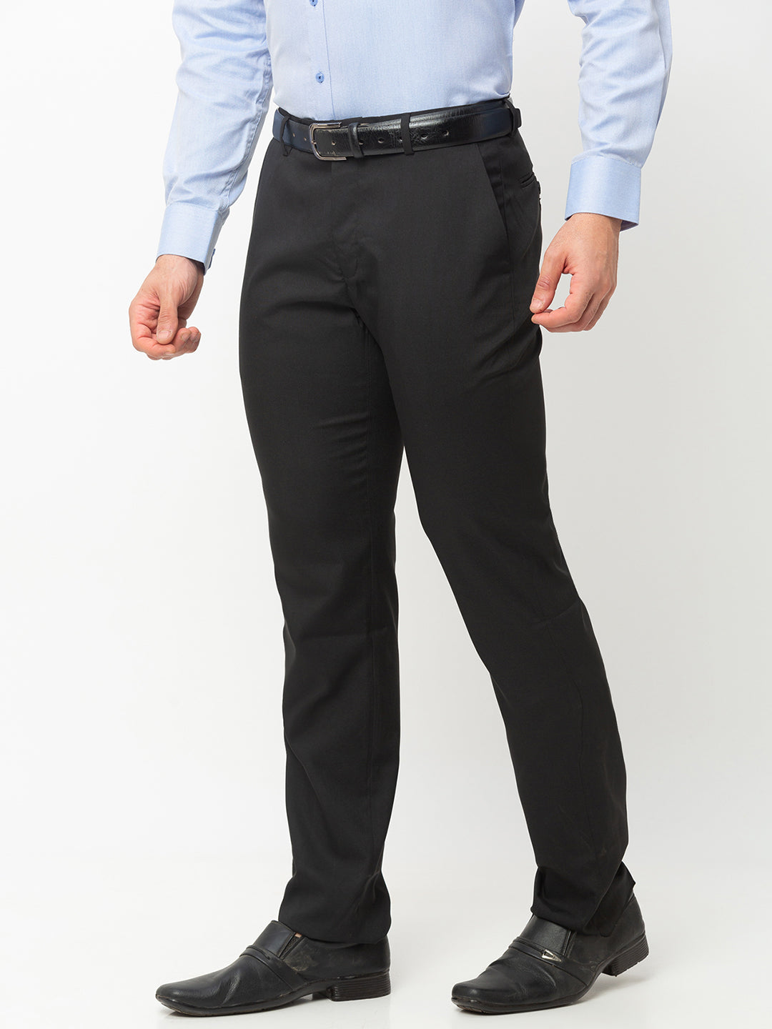 Globus Black Solid Trousers-2