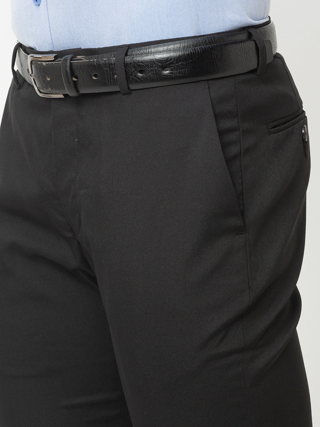 Globus Black Solid Trousers-4