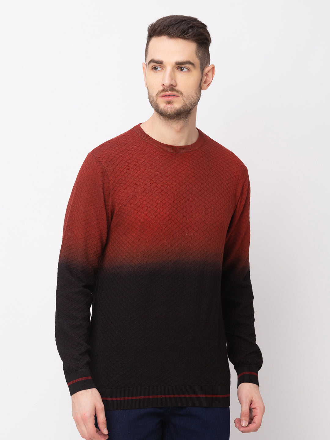 Globus Maroon Colourblocked Pullover Sweater-1