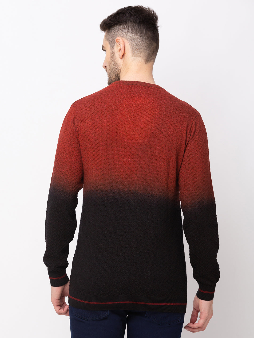 Globus Maroon Colourblocked Pullover Sweater-3