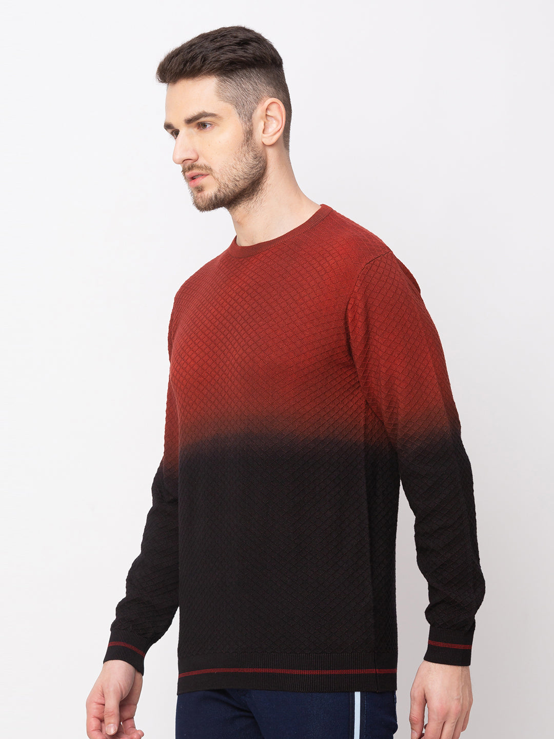 Globus Maroon Colourblocked Pullover Sweater-2