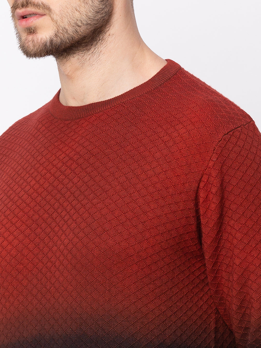 Globus Maroon Colourblocked Pullover Sweater-4