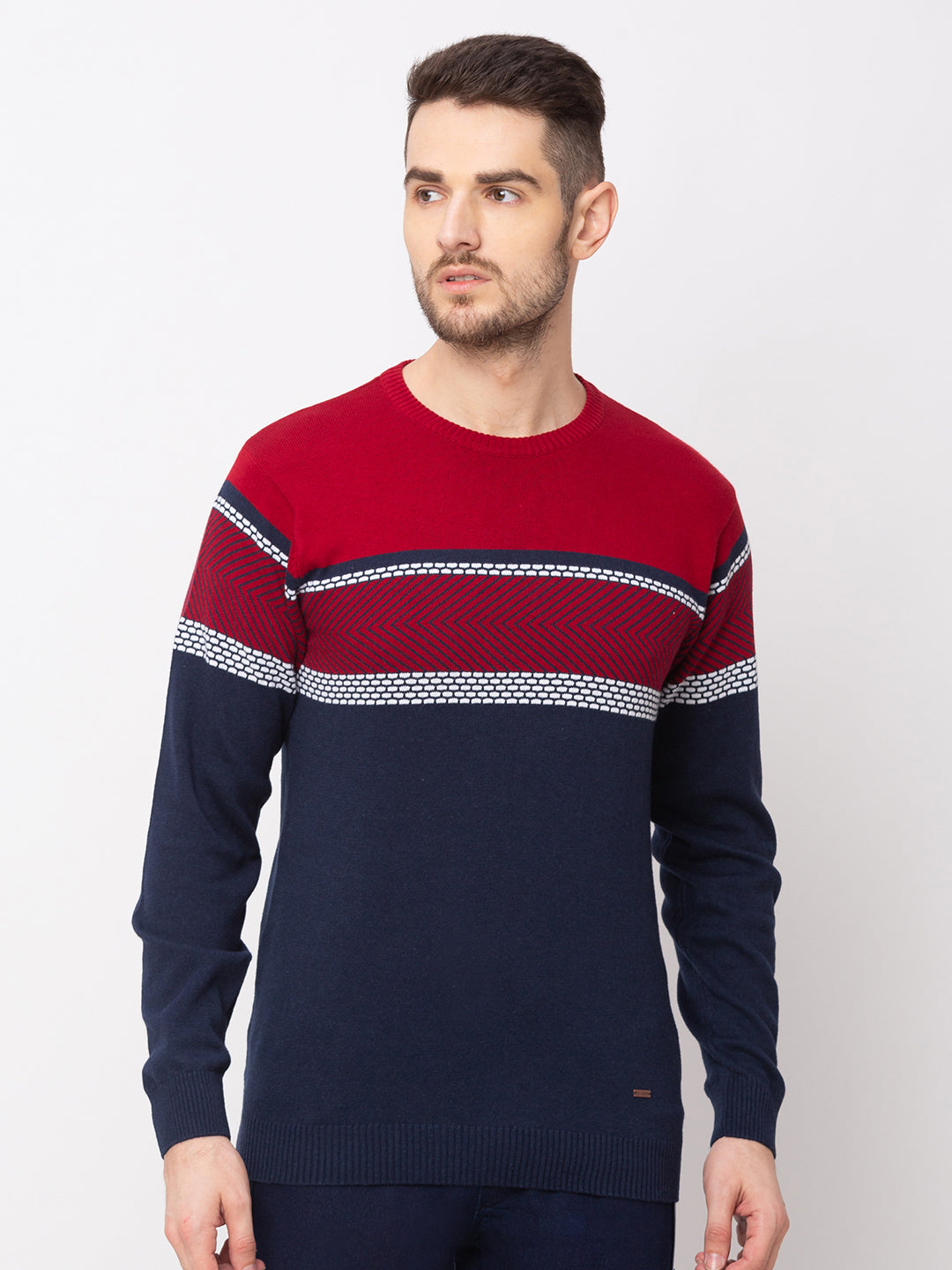Globus Royal Blue Colourblocked Pullover Sweater-1