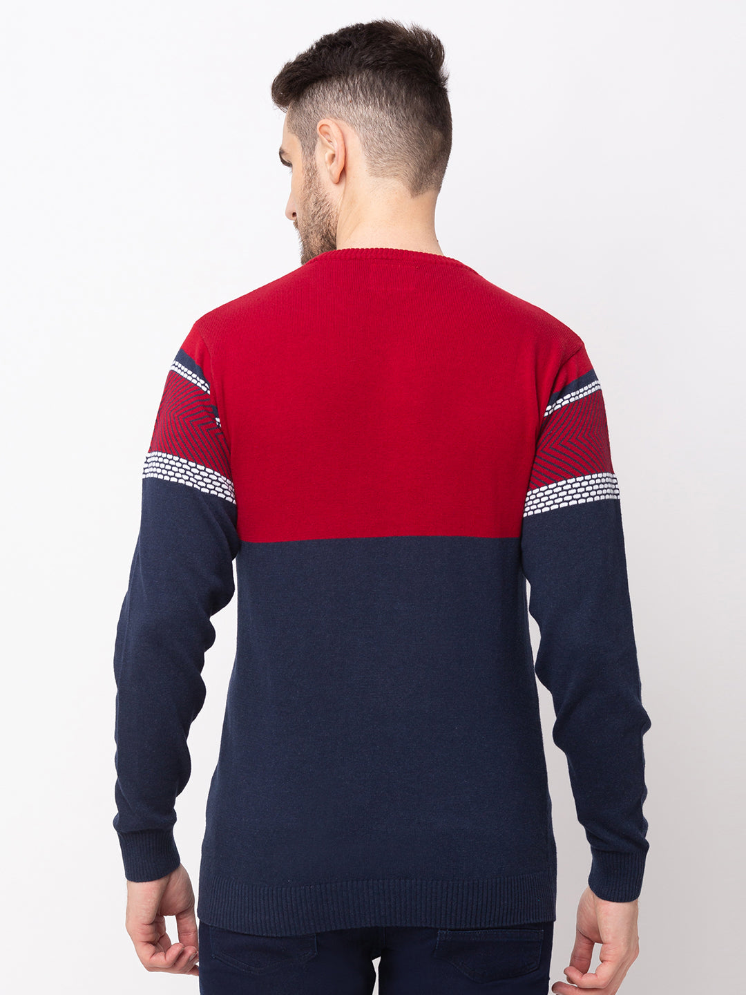 Globus Royal Blue Colourblocked Pullover Sweater-3