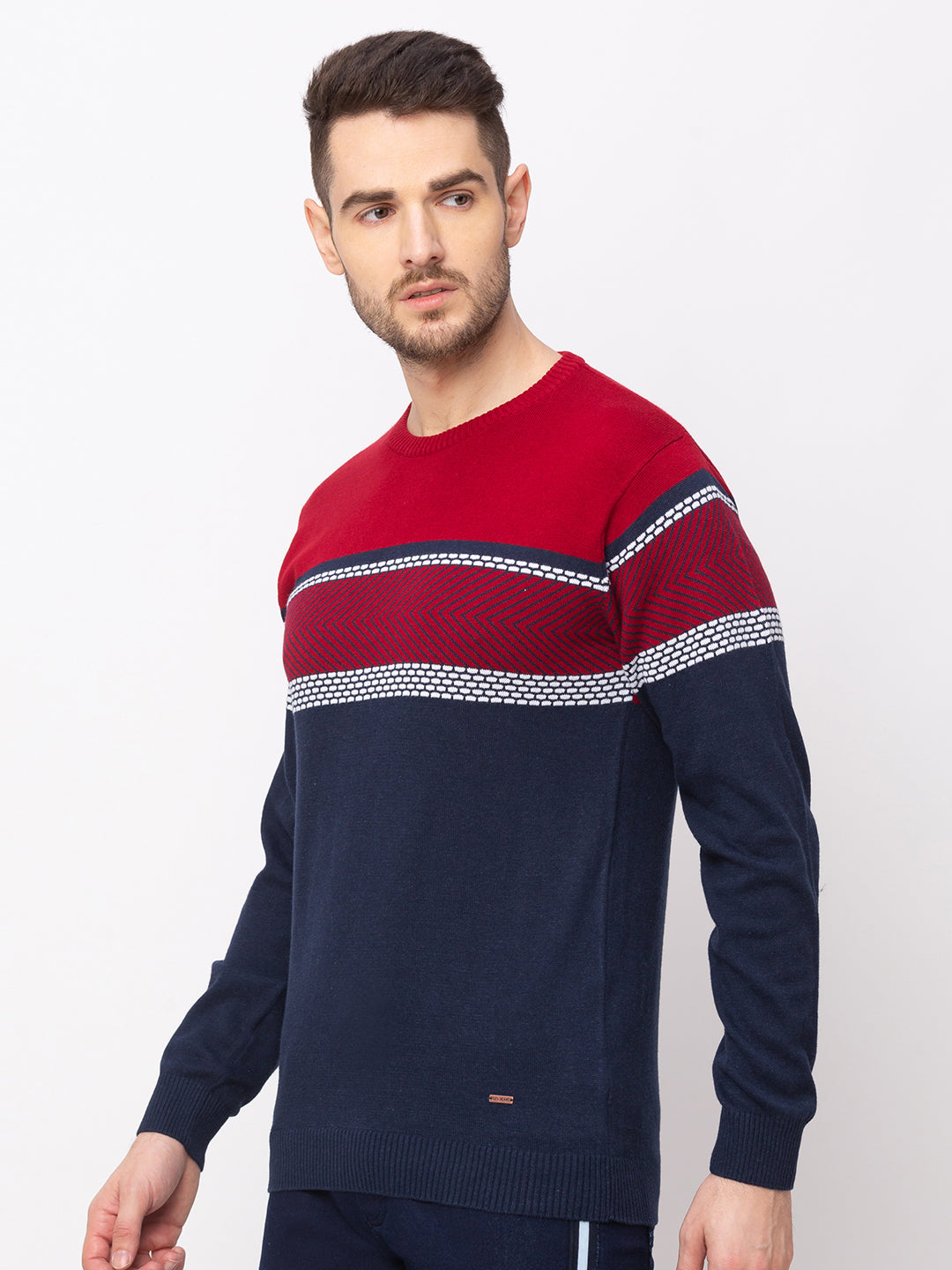 Globus Royal Blue Colourblocked Pullover Sweater-2