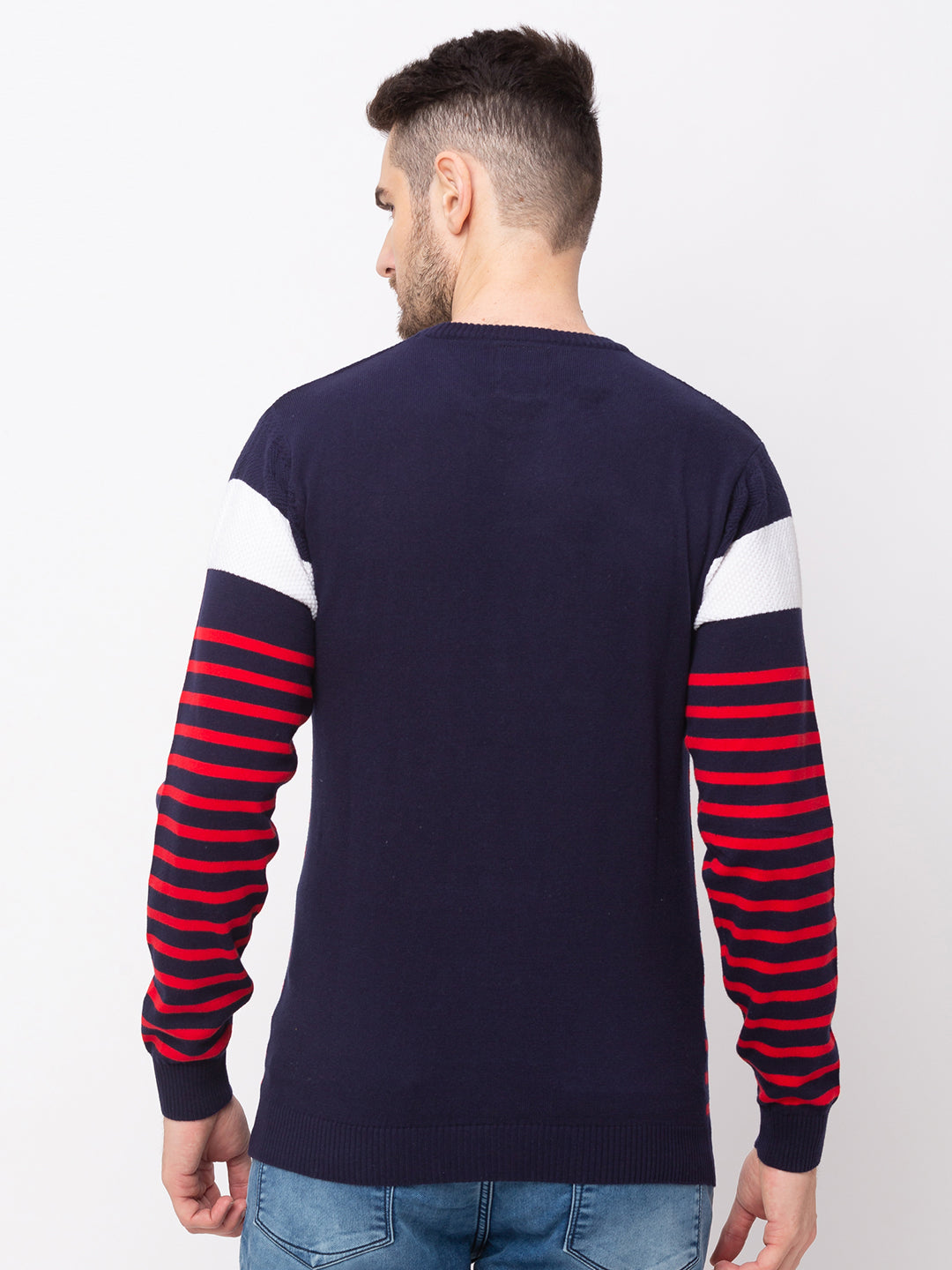 Globus Navy Blue Striped Pullover Sweater-3