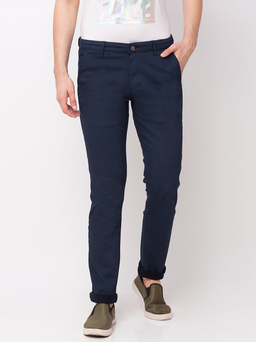 Globus Navy Blue Checked Chinos-1