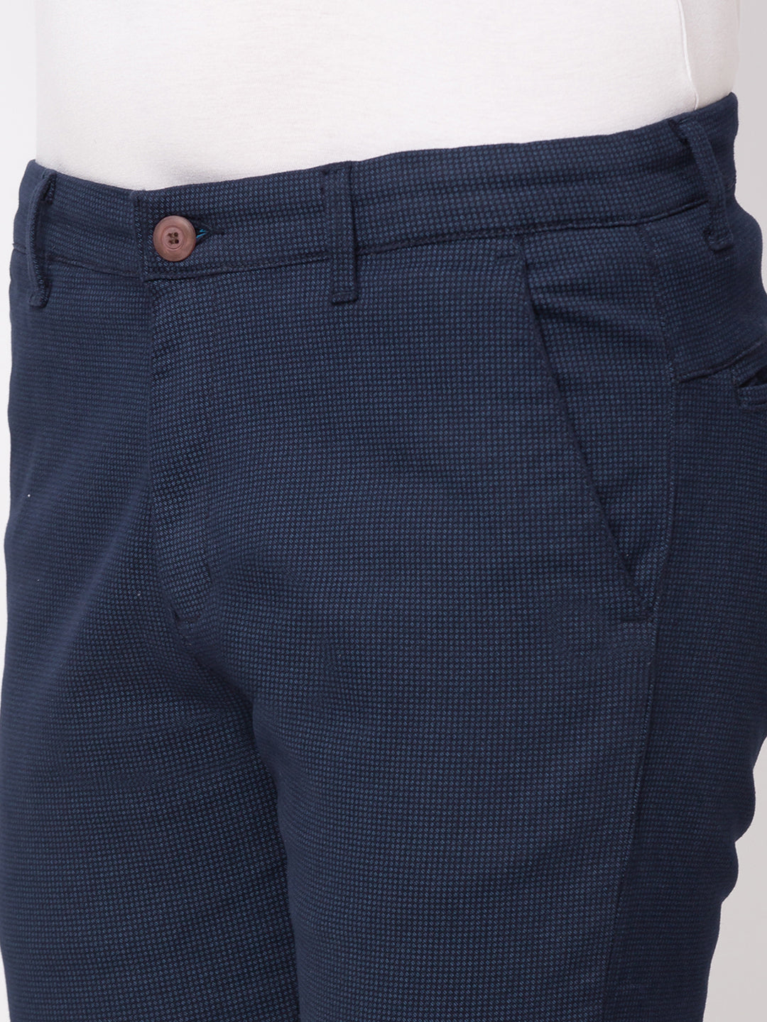 Globus Navy Blue Checked Chinos-4