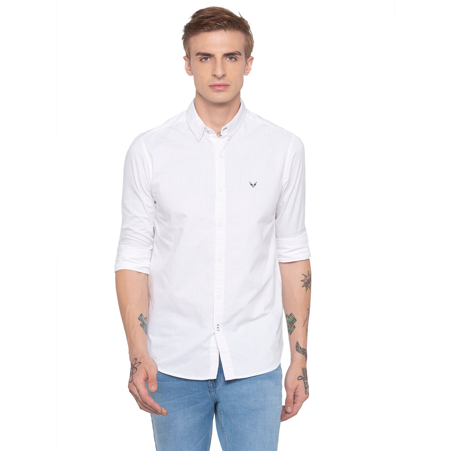 Pinstripe Casual White Shirt-1