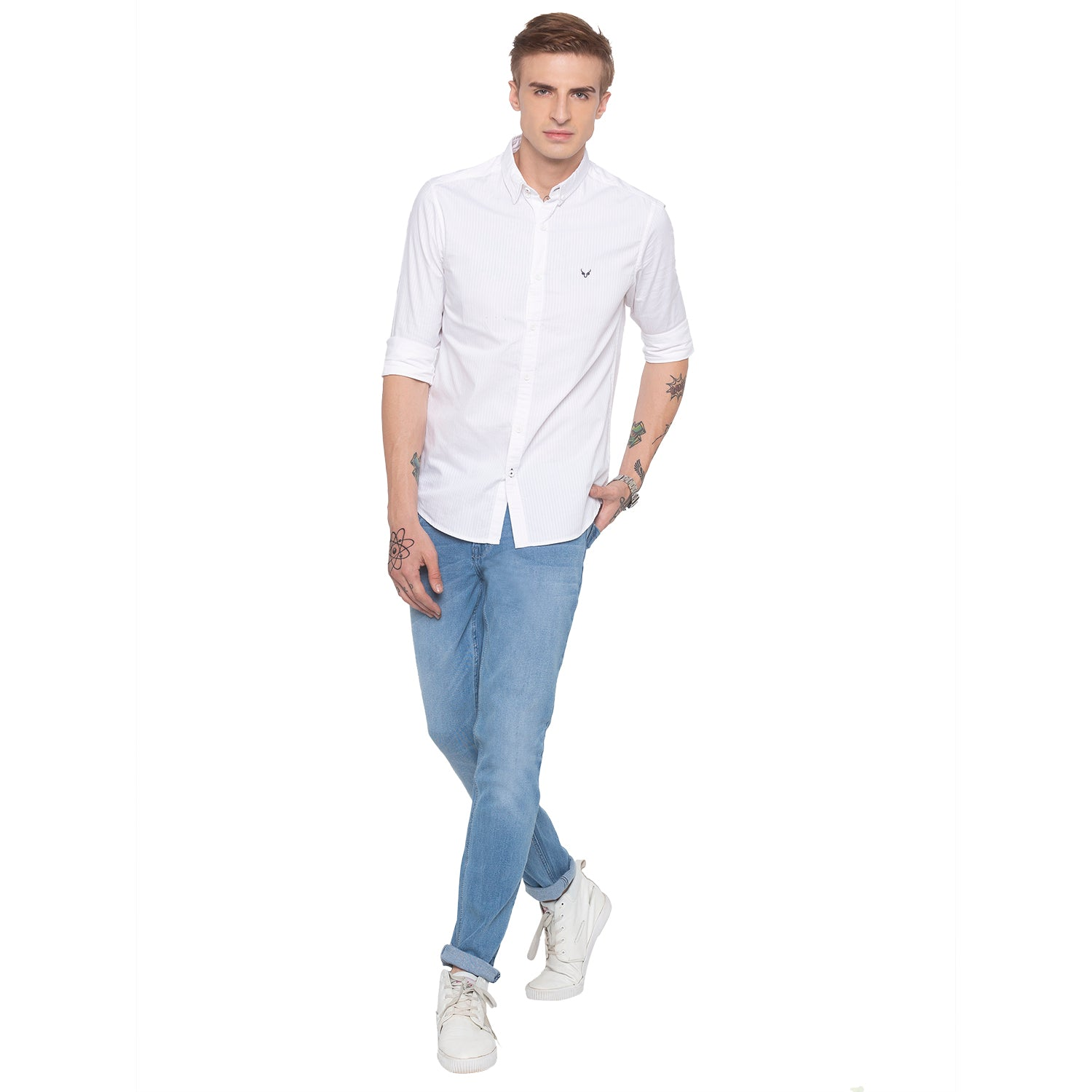 Pinstripe Casual White Shirt-4