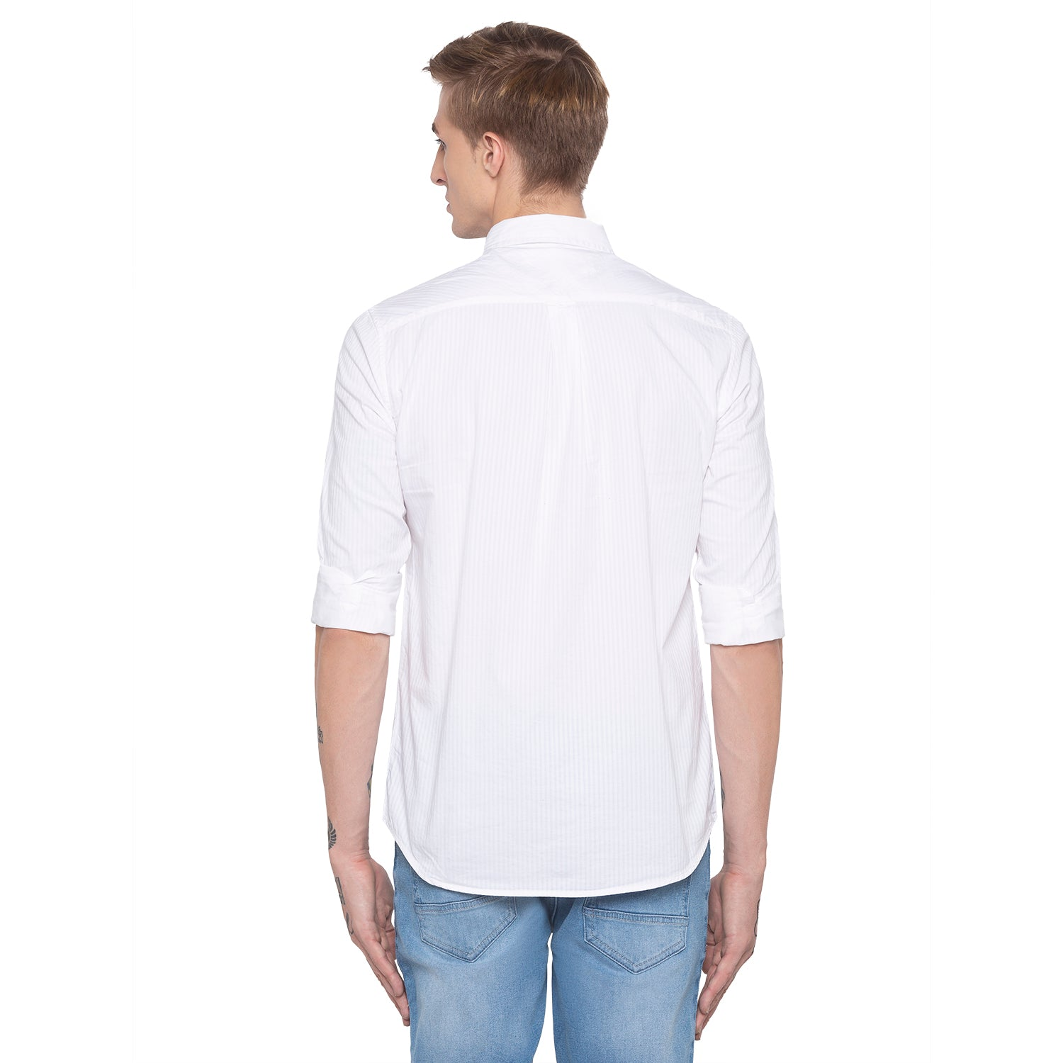 Pinstripe Casual White Shirt-3