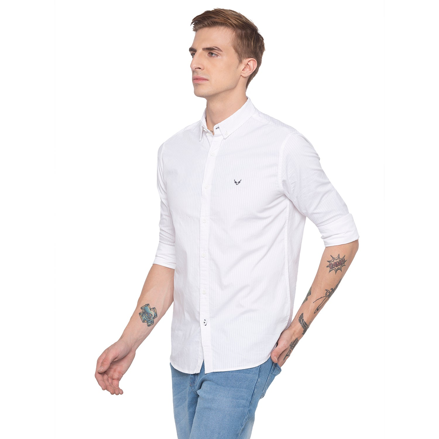 Pinstripe Casual White Shirt-2