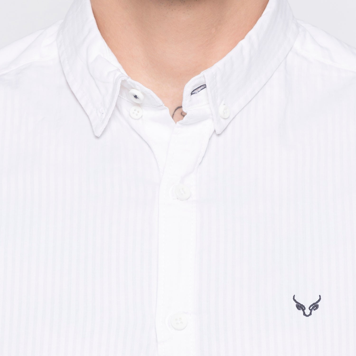 Pinstripe Casual White Shirt-5