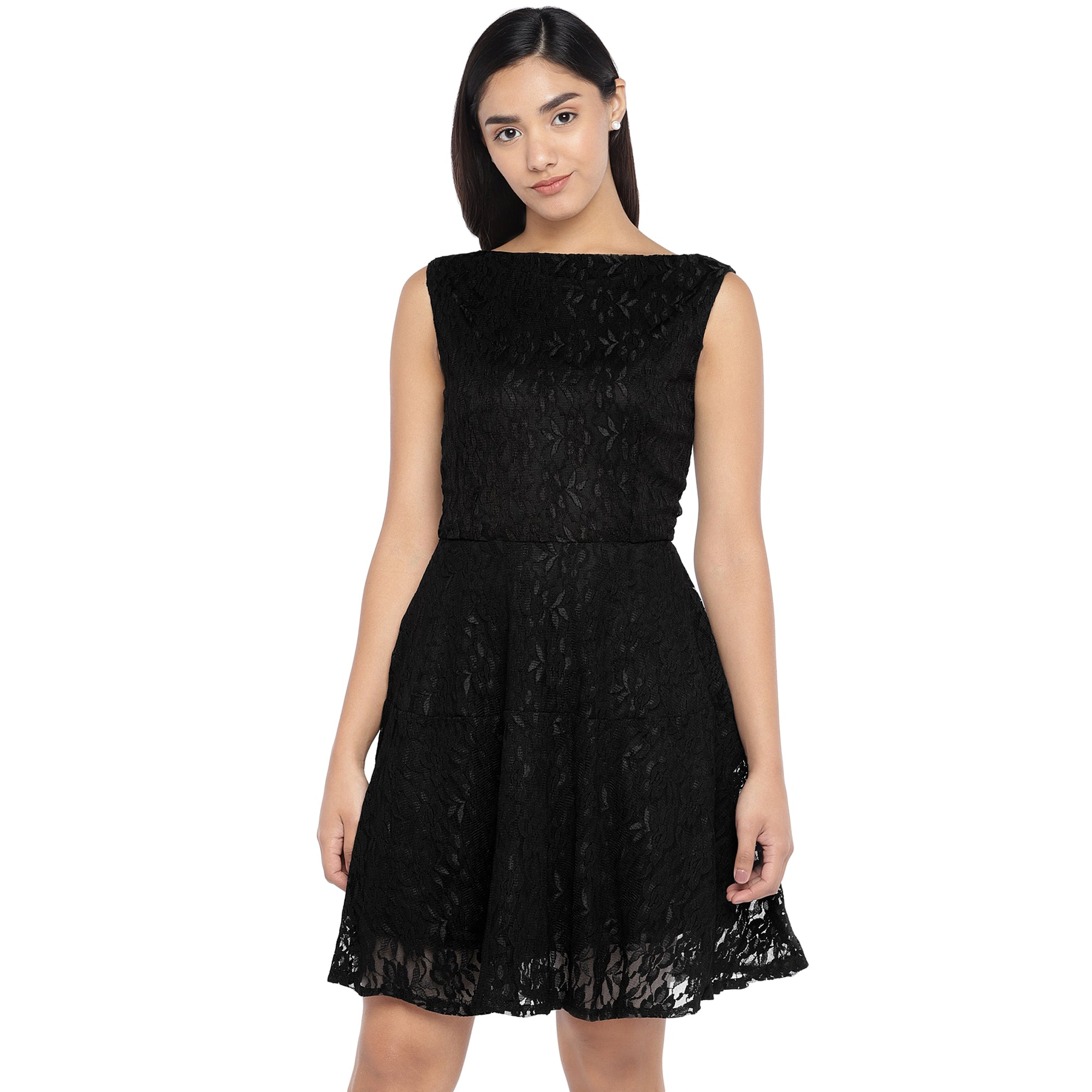 Black Self Design A-Line Dress-1