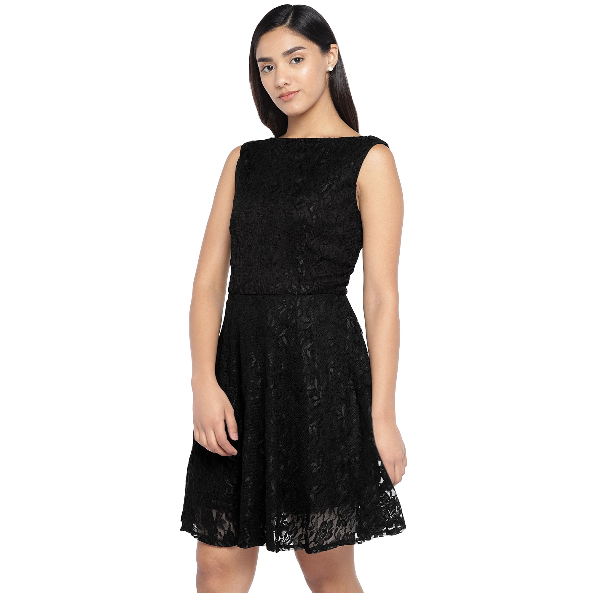 Black Self Design A-Line Dress-2