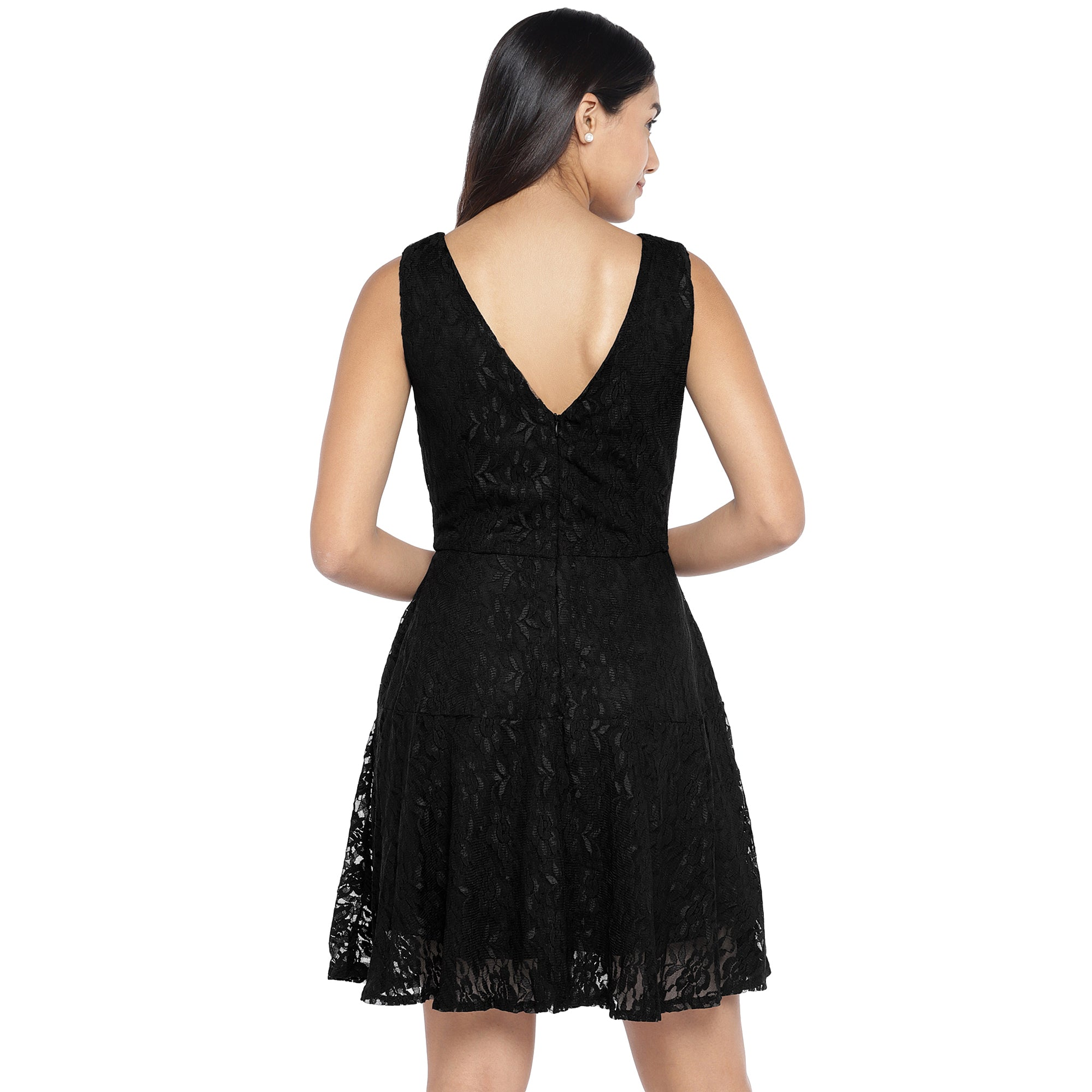 Black Self Design A-Line Dress-3