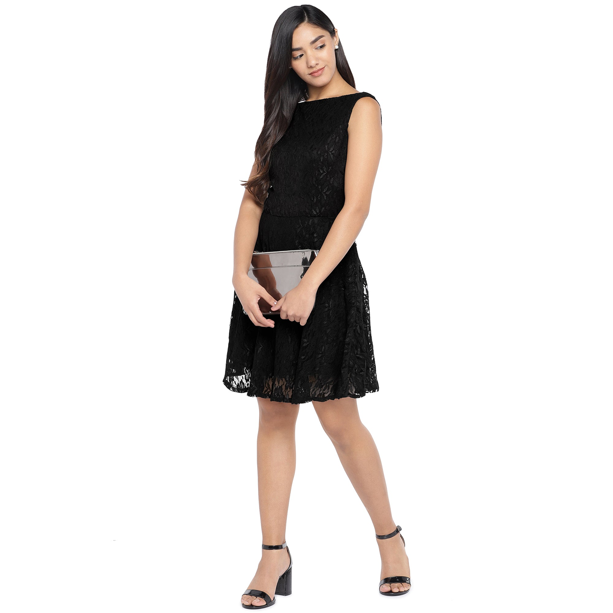 Black Self Design A-Line Dress-4