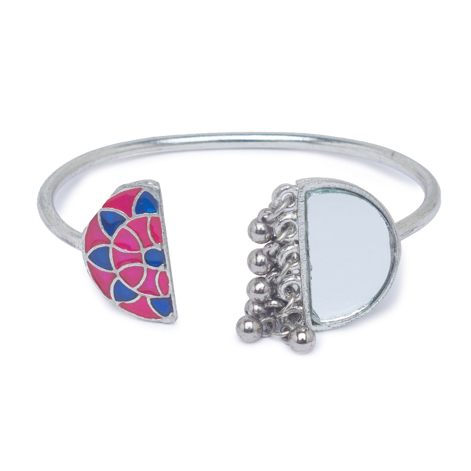 Globus Silver and Pink and Blue Ethnic Bracelet-1