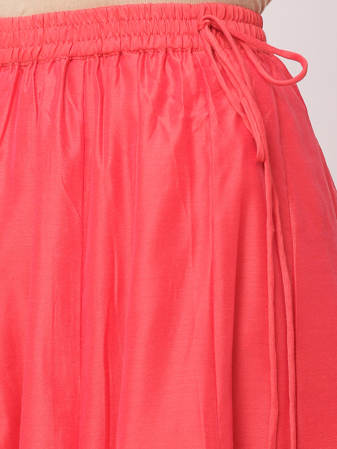 Globus Pink Poly Brocade Solid Skirt-4