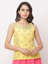 Load image into Gallery viewer, Globus Yellow Round Neck Embellished Top-1