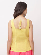 Load image into Gallery viewer, Globus Yellow Round Neck Embellished Top-3