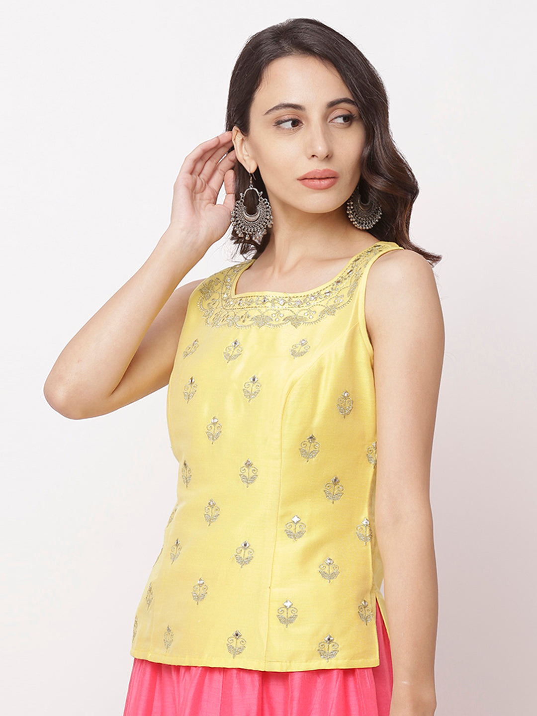 Globus Yellow Round Neck Embellished Top-4