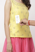 Load image into Gallery viewer, Globus Yellow Round Neck Embellished Top