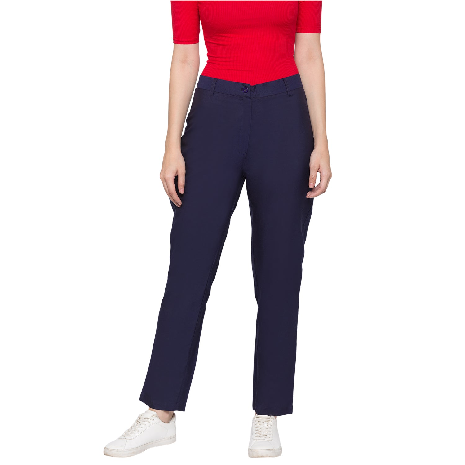 GLOBUS Navy Blue Solid Trousers-1