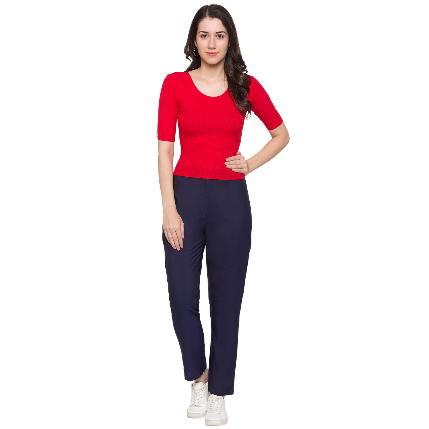 GLOBUS Navy Blue Solid Trousers-4