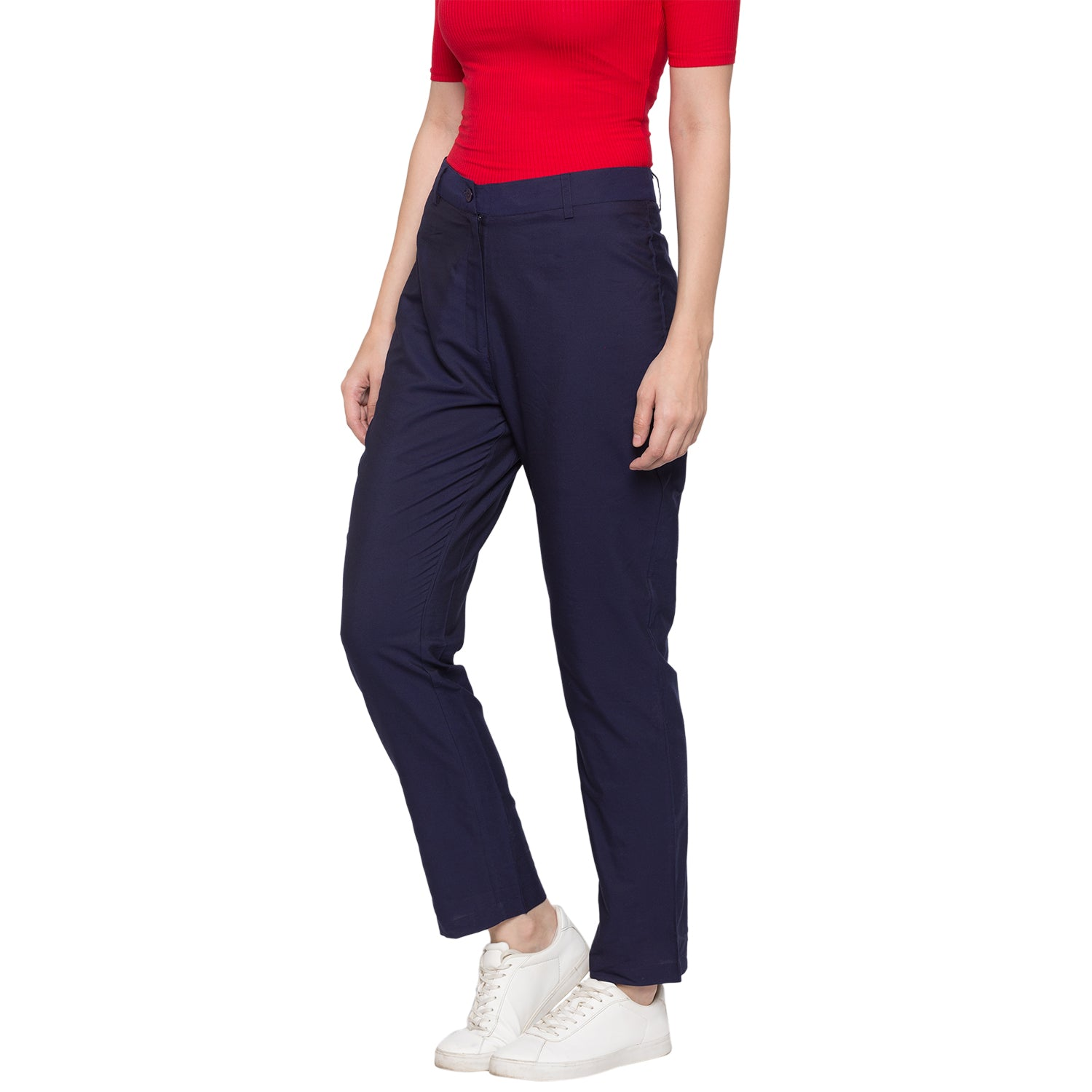 GLOBUS Navy Blue Solid Trousers-2
