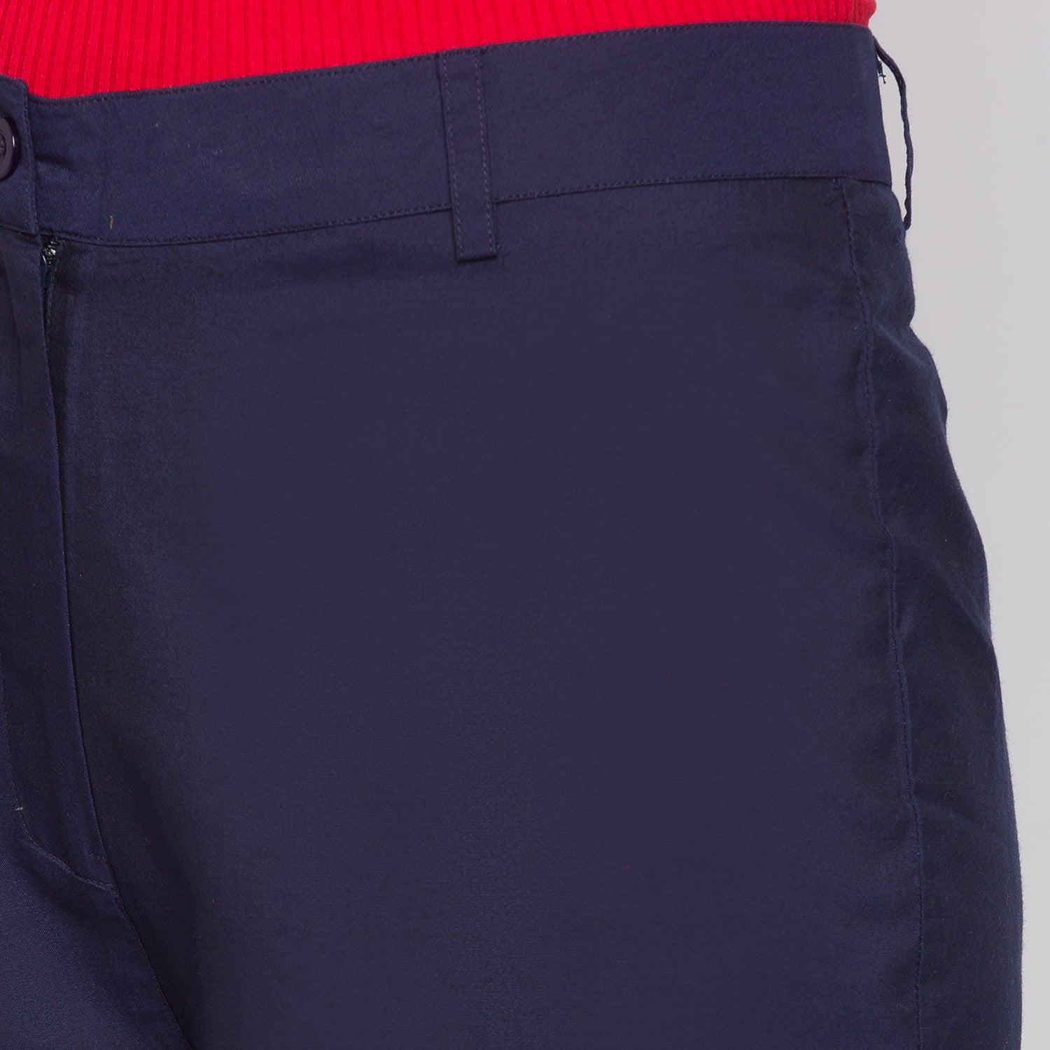 GLOBUS Navy Blue Solid Trousers-5