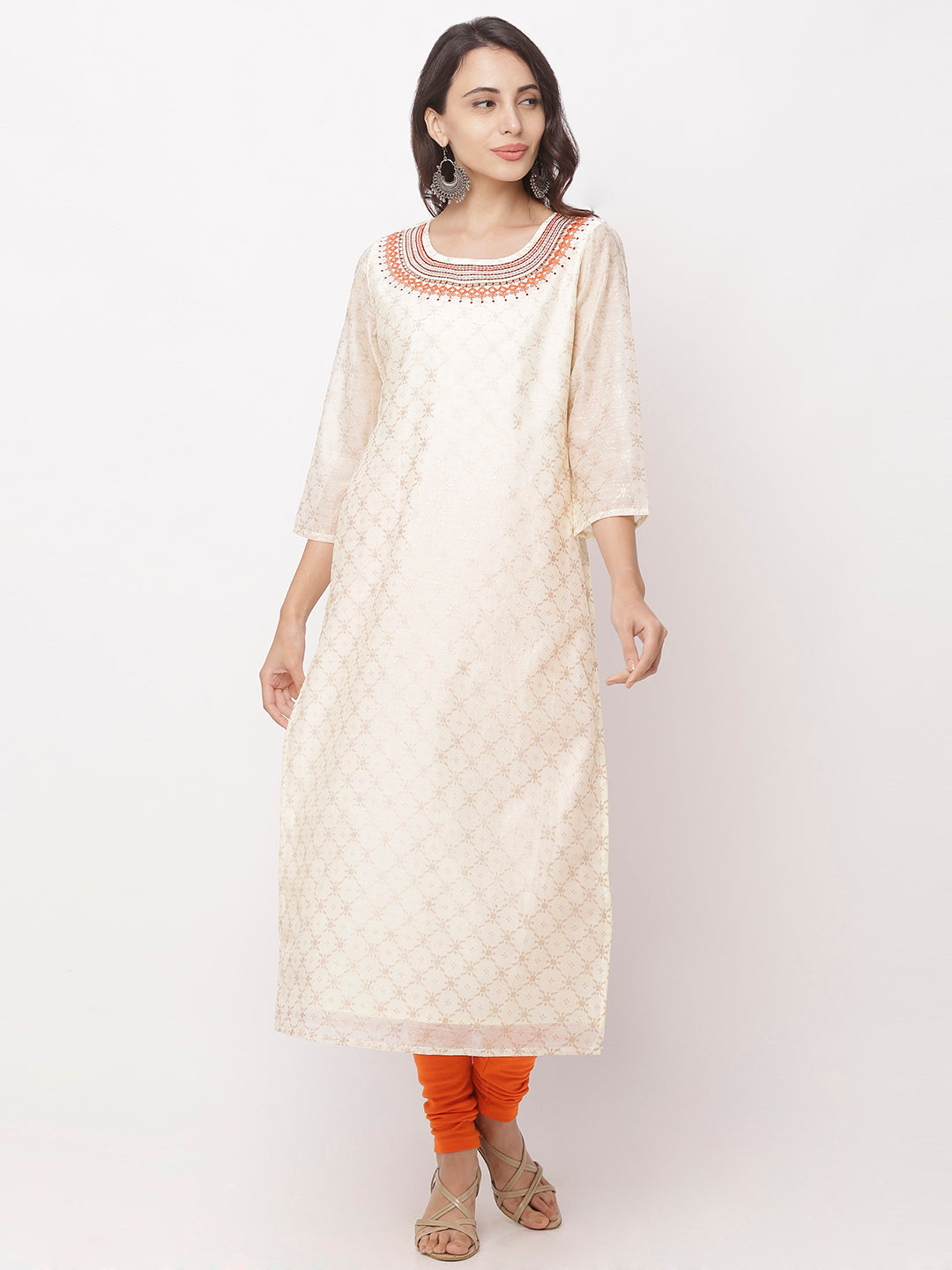 Globus White Embroidered Kurta-1