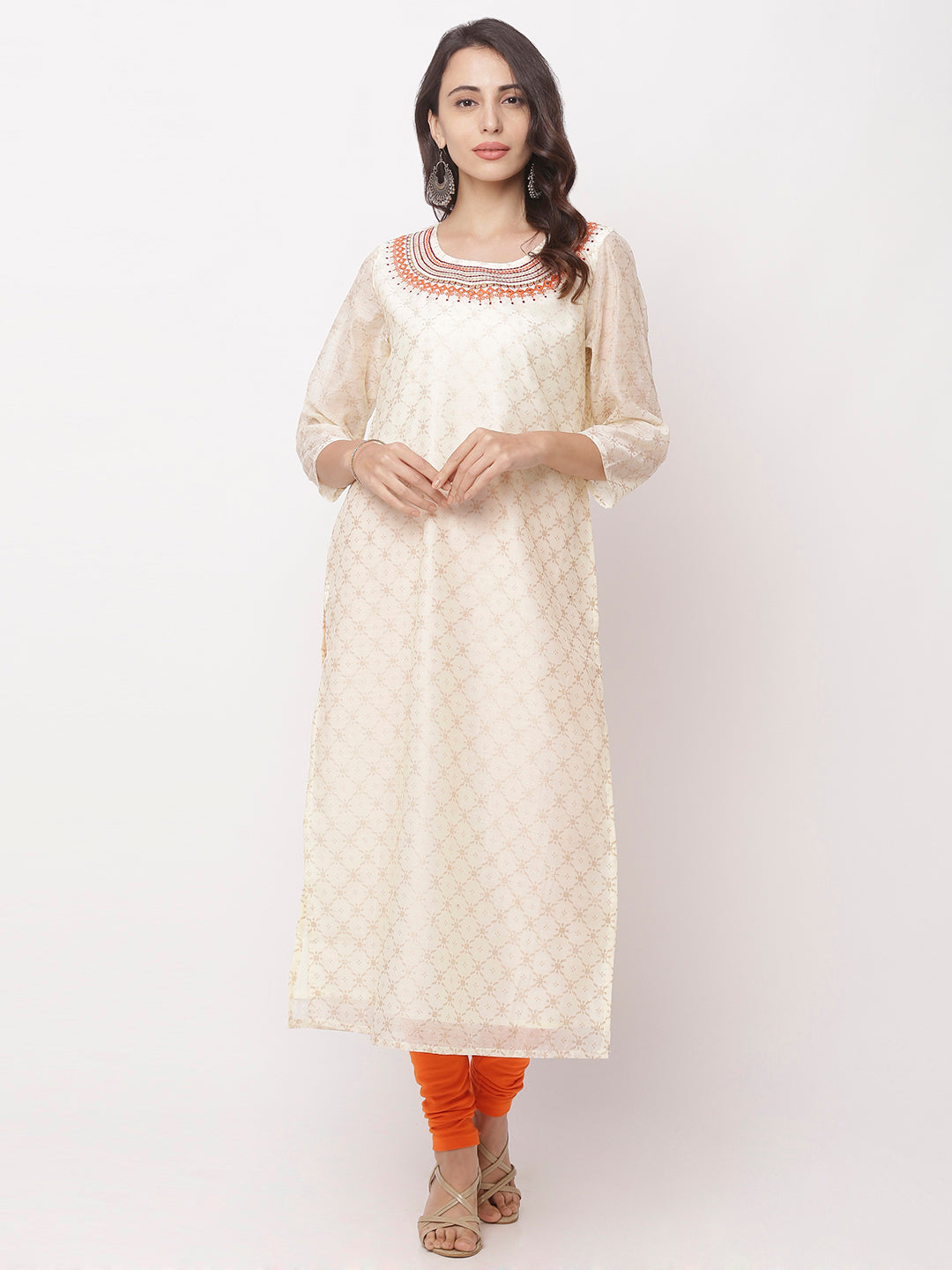 Globus White Embroidered Kurta-5