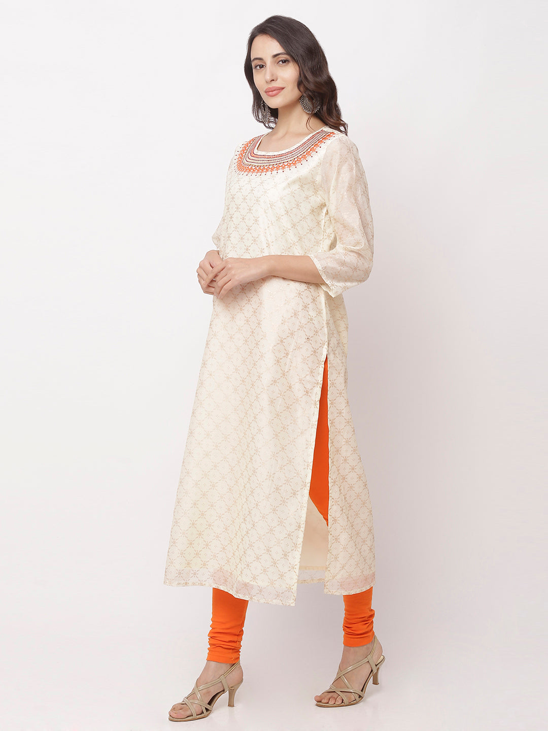 Globus White Embroidered Kurta-2